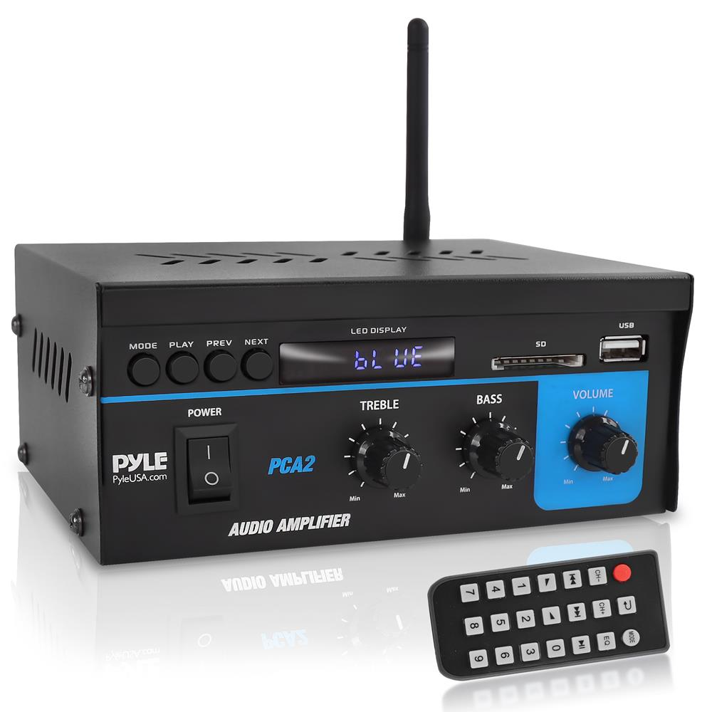 pyle mini 2 channel 2x40w 80w home house stereo power amp amplifier receiver new ebay. Black Bedroom Furniture Sets. Home Design Ideas