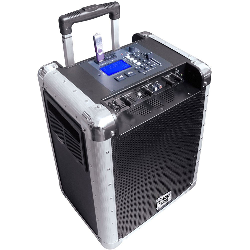 new pyle pcmx265b portable pa system with rechargeable battery usb sd aux inputs. Black Bedroom Furniture Sets. Home Design Ideas