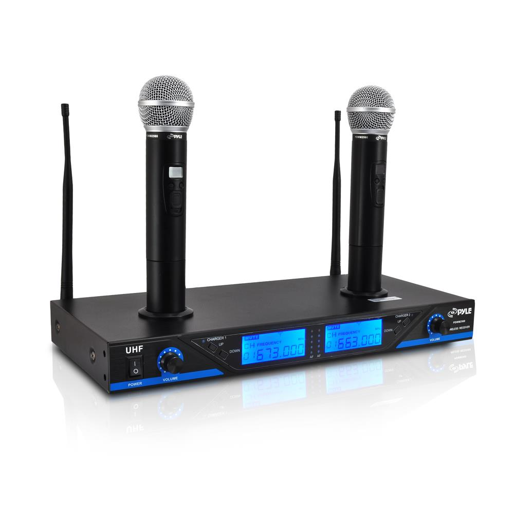 pyle uhf 16ch wireless cordless dual mic microphone professional system chargers ebay. Black Bedroom Furniture Sets. Home Design Ideas