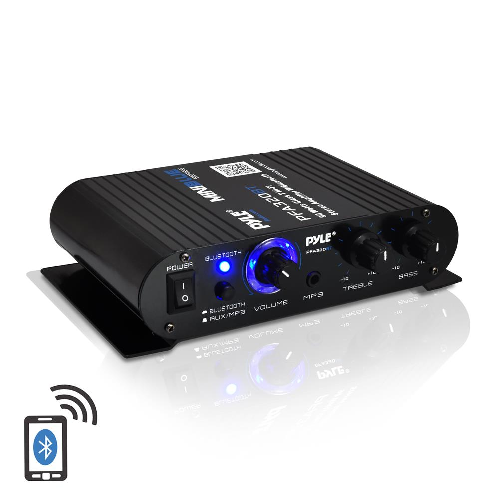 Bluetooth Mini Blue Series  pact Class T  lifier  90 Watt Max Power  Aux  35mm  Input  Push Type Speaker Terminals on pyle audio system