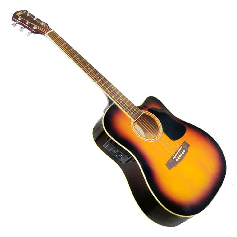 pyle acoustic electric guitar package gig bag strap picks tuner strings sunburst ebay. Black Bedroom Furniture Sets. Home Design Ideas