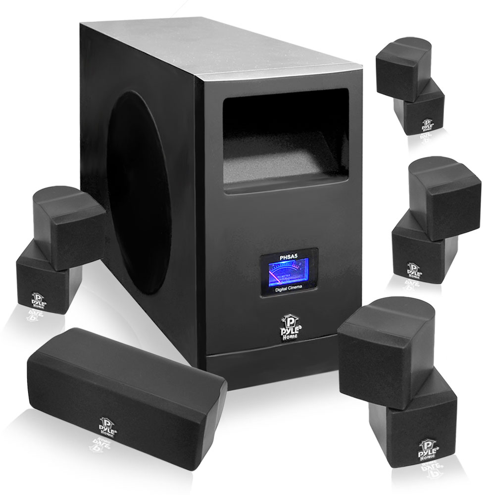 New Pyle Phsa5 5 1 Home Theater Speaker System Subwoofer
