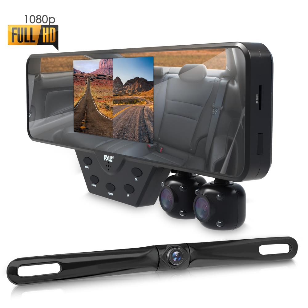Car Mirror Replacement >> Pyle - PLCMDVR54 - On the Road - Rearview Backup Cameras - Dash Cams