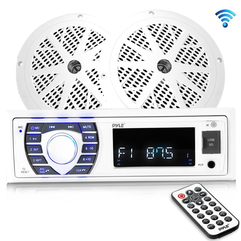 Kit w//Single DIN Universal Size Radio Wireless Bluetooth Marine Audio Stereo