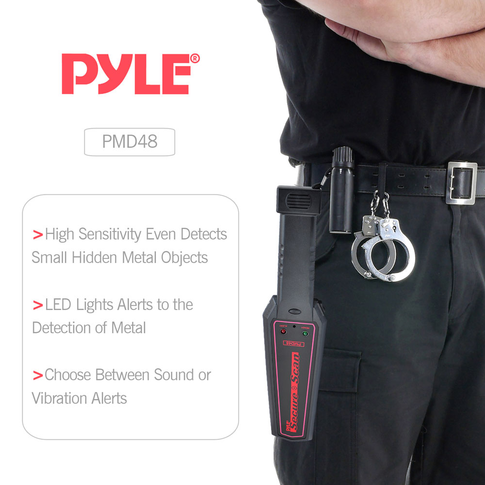 Pyle - PMD48 , Tools and Meters , Metal and Stud Detectors , Secure Scan Handheld Metal Detector Wand Security Scanner with Adjustable Sensitivity and Headphone Jack