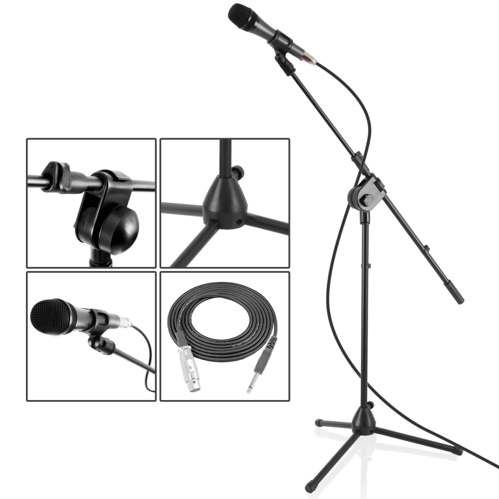 new pyle pmksm20 microphone and tripod stand with extending boom mic cable ebay. Black Bedroom Furniture Sets. Home Design Ideas