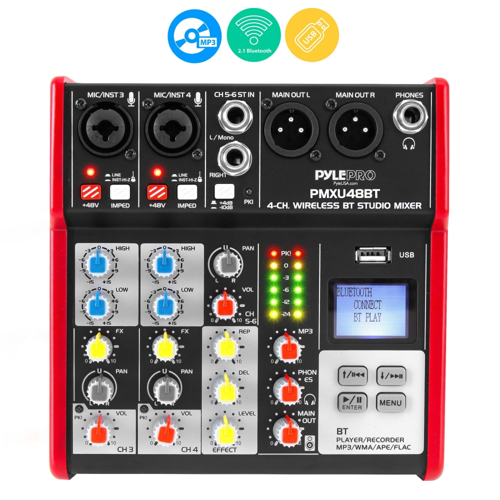 pyle pmxu48bt musical instruments mixers dj controllers sound and recording mixers. Black Bedroom Furniture Sets. Home Design Ideas