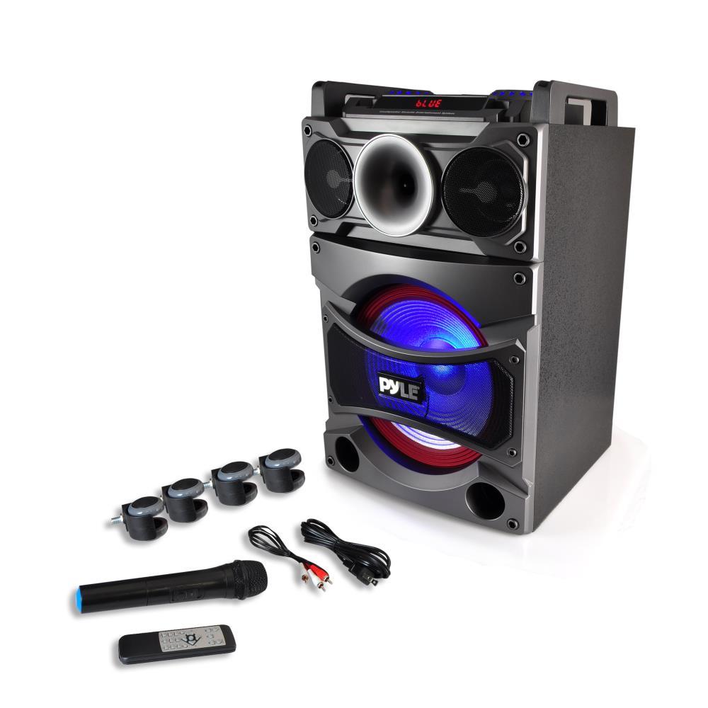 pyle 2000w 12 portable active dj pa speaker bluetooth karaoke wireless mic. Black Bedroom Furniture Sets. Home Design Ideas