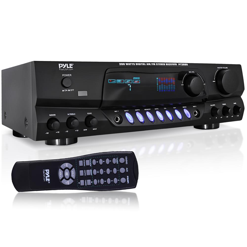 pyle 200w amp amplifier digital am fm stereo radio. Black Bedroom Furniture Sets. Home Design Ideas