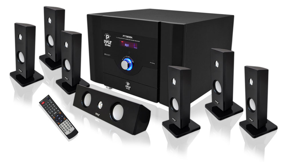 pyle bluetooth 7 1 ch 500w home theater system stereo speaker surround sound new. Black Bedroom Furniture Sets. Home Design Ideas