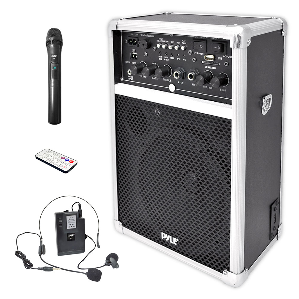 Dual Channel 400 Watt Wireless PA System WUSBSDMP3  2 VHF Wireless Microphones  1 Lavalier  1 Handheld on usb sound card for recording