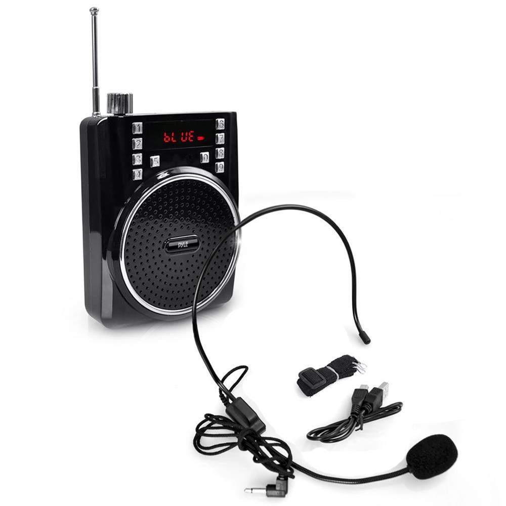 Pyle Portable Bluetooth PA Speaker System Wireless Headset Microphone Fm Radio