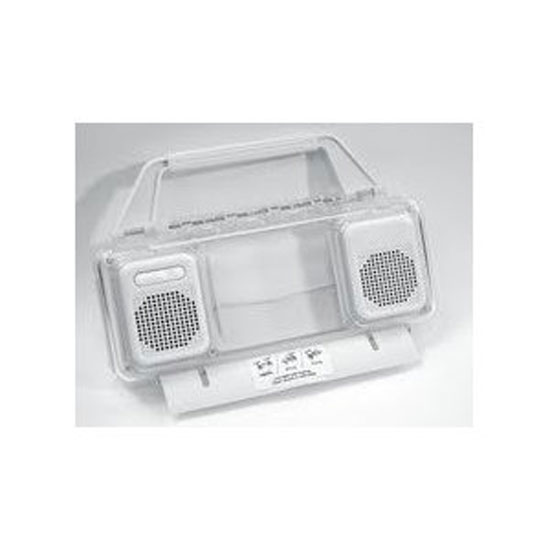 Pyle - GH610W , Home and Office , Portable Speakers - Boom Boxes , GSI Quality Mini Boom-Box - Weather Resistant Transparent Case With Built In Stereo Speaker And Volume Control, For Apple iPhone, iPod And Mp3 Players - Play Music Outdoors On Patio, Beaches Etc. - White