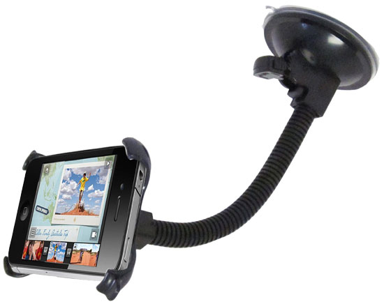 Pyle - GHSIPC643B , Home and Office , Portable Speakers - Boom Boxes , In Car Windshield Dashboard Mount For Apple iPhone 3G/S - 360° Rotating Dock, Suction Cup Stand, Goose Neck Flex Holder Perfect Fit Great For Travel Or Home Use