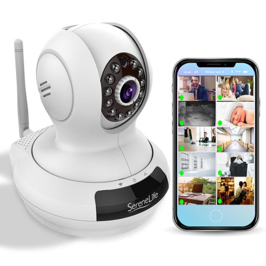 Pyle - IPCAMHD61 , Home and Office , Cameras - Videocameras , HD Wireless IP Camera / WiFi Cam, Remote Video Monitoring Surveillance Security, Built-in Speaker, Microphone, PTZ (Pan, Tilt, Zoom) Control, App Download