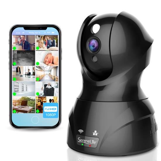 Pyle - IPCAMHD82 , Gadgets and Handheld , Cameras - Videocameras , 1080p IP Camera - HD WiFi Cam, Remote Video Monitoring Surveillance Security, Built-In Speaker & Microphone, Smartphone App Control