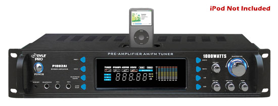 Pyle - P1002AI , DJ Equipment , Hybrid Pre Amplifier , 1000 Watts Hybrid Receiver & Pre-Amplifier W/AM-FM Tuner/Ipod Docking Station