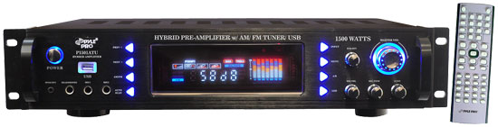 Pyle - P1501ATU , DJ Equipment , Hybrid Pre Amplifier , 1500 Watts Hybrid Pre Amplifier w/ AM/FM Tuner/ USB