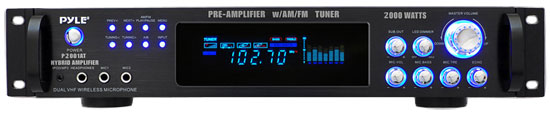 Pyle - P2001AT , DJ Equipment , Power Amplifiers , 2,000 Watt Hybrid Pre-Amplifier with AM/FM Tuner - Audio Inputs & Outputs