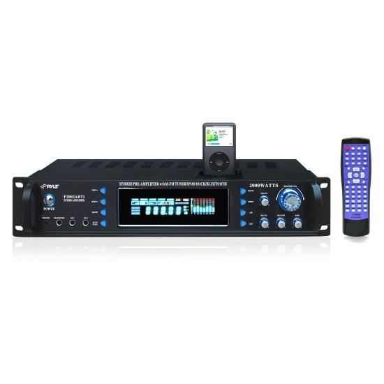 Pyle - P2002ABTI , DJ Equipment , Hybrid Pre Amplifier , 2000 Watts Hybrid Receiver & Pre-Amplifier W/AM-FM Tuner/Ipod Docking Station & Bluetooth