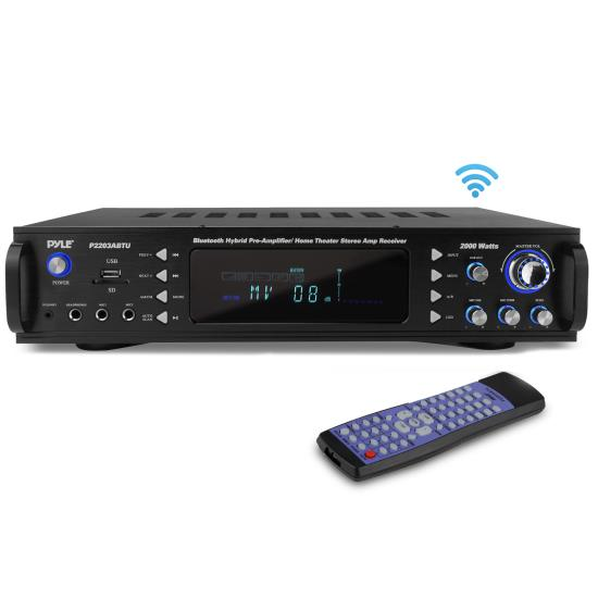Pyle - P2203ABTU.5 , Sound and Recording , Amplifiers - Receivers , Bluetooth Stereo Receiver for Speakers, Wireless Speaker Amp, Home Theater Stereo Amp Receiver, USB/SD/MP3/AUX/AM/FM, 2000 Watt