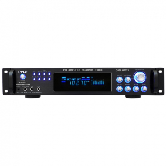 Pyle - P3001AT , DJ Equipment , Power Amplifiers , 3,000 Watt Hybrid Pre-Amplifier with AM/FM Tuner - Audio Inputs & Outputs