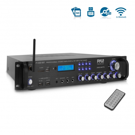 Pyle - P3001BT , Sound and Recording , Amplifiers - Receivers , Bluetooth Hybrid Amplifier Receiver - Home Theater Pre-Amplifier with Wireless Streaming Ability w/ Digital Optical/Coax, MP3/USB/SD/AUX/FM Radio (3000 Watt)