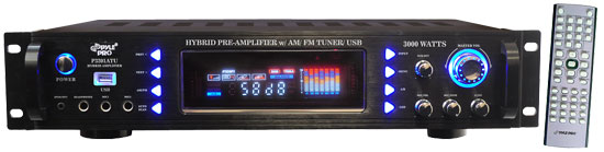 Pyle - P3201ATU , DJ Equipment , Hybrid Pre Amplifier , 3000 Watts Hybrid Pre Amplifier w/ AM/FM Tuner/ USB
