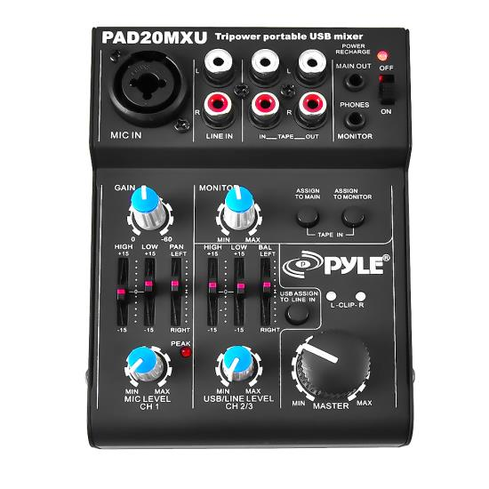 Pyle - PAD20MXU , Sound and Recording , Mixers - DJ Controllers , 5-Channel Professional Compact Audio DJ Mixer With USB Interface