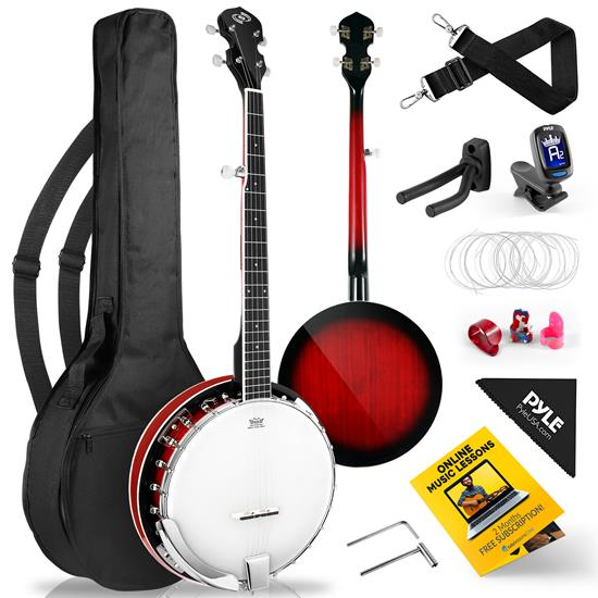 Pyle - PBJ140 , Musical Instruments , Banjo - Ukulele , 5-String Banjo with White Pearl Color Plastic Tune Pegs & High-Density Man-made Wood Fretboard and Accessory Kit (Redburst)