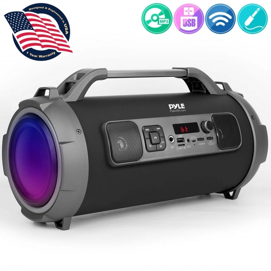 Pyle - PBMKRG155 , Sports and Outdoors , Portable Speakers - Boom Boxes , Gadgets and Handheld , Portable Speakers - Boom Boxes , Bluetooth BoomBox Speaker System - Wireless & Portable Stereo Radio Speaker with Flashing DJ Party Lights, FM Radio