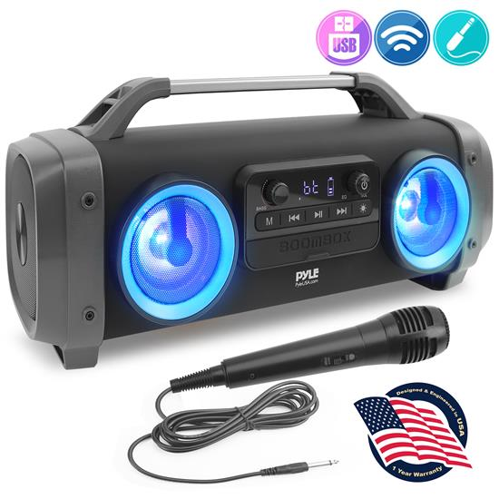 Pyle - PBMSPG144 , Sports and Outdoors , Portable Speakers - Boom Boxes , Gadgets and Handheld , Portable Speakers - Boom Boxes , Bluetooth BoomBox Karaoke Speaker System - Wireless & Portable Stereo Radio Speaker with Wired Handheld Microphone, Flashing DJ Party Lights, FM Radio