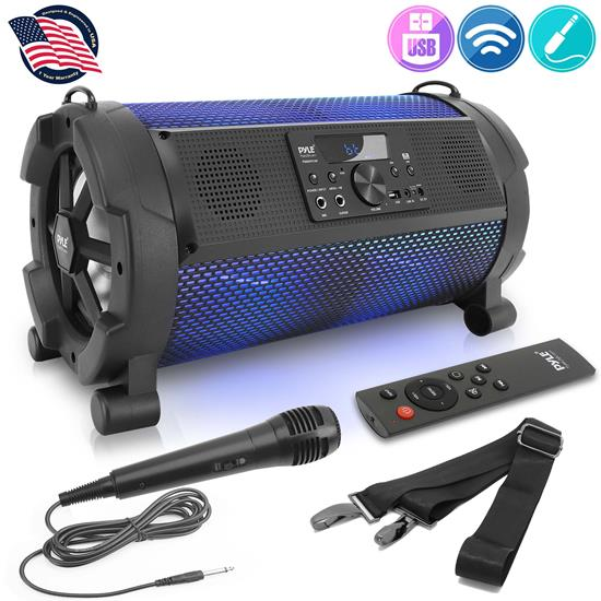 Pyle - PBMSPG180 , Sports and Outdoors , Portable Speakers - Boom Boxes , Gadgets and Handheld , Portable Speakers - Boom Boxes , Bluetooth Boom Box Speaker System - Wireless & Portable Stereo Speaker with Built-in LED Lights, TWS & Included Wired Microphone (500 Watt)