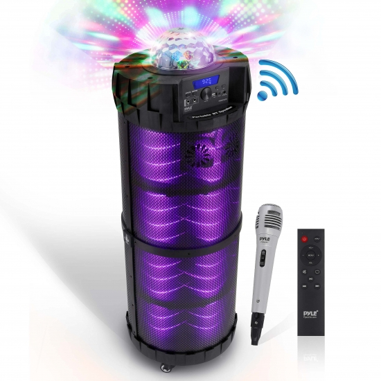 Pyle - PBMSPG290 , Sports and Outdoors , Portable Speakers - Boom Boxes , Gadgets and Handheld , Portable Speakers - Boom Boxes , Portable Bluetooth Speaker & Microphone Karaoke System - Indoor / Outdoor Wireless PA Stereo with LED Party Lights, MP3/USB Reader, FM Radio, Includes Wired Mic (800 Watt)