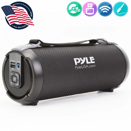 Pyle - PBMSPG3BK , Sports and Outdoors , Portable Speakers - Boom Boxes , Gadgets and Handheld , Portable Speakers - Boom Boxes , Bluetooth BoomBox Speaker System - Wireless & Portable Stereo Radio Speaker with FM Radio, MP3/USB/Micro SD Readers