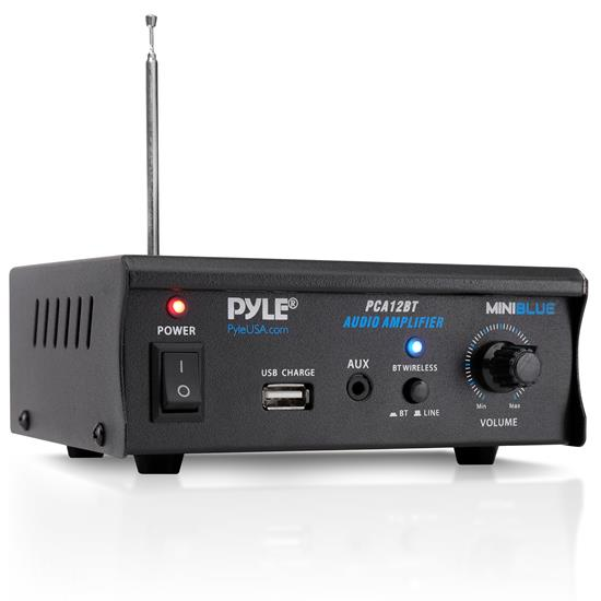 Pyle - PCA12BT.5_0 , Sound and Recording , Amplifiers - Receivers , Mini Blue Series Bluetooth Stereo Power Amplifier, Wireless Audio Streaming Amp with USB Charging & Audio AUX Input (2 x 25 Watt)