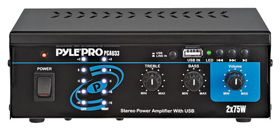 Pyle - PCAU33 , Home Audio / Video , Amplifiers , Mini 2 x 75 Watts Stereo Power Amplifier With USB Input