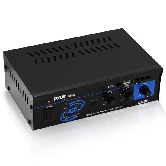 Pyle - PCAU44 , Home Audio / Video , Amplifiers , Mini 2x120 Watt Stereo Power Amplifier w/ USB & CD Input