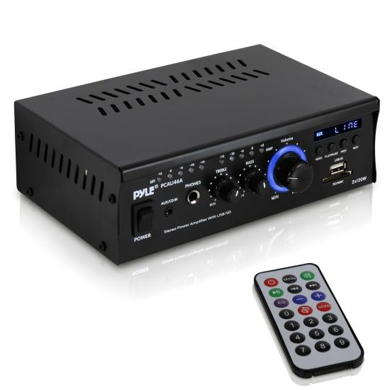 Pyle - PCAU46A , Home Audio / Video , Amplifiers , Mini 2x120 Watt Stereo Power Amplifier with USB/SD Card Readers, AUX, CD Inputs & LED Display