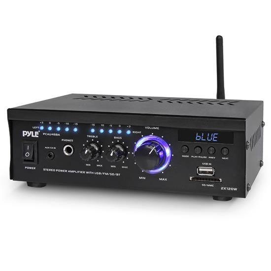 Pyle - PCAU46BA , Sound and Recording , Amplifiers - Receivers , Audio Speaker Power Amplifier System - 2x120 Watt Digital Amp w/ Headphone Jack, MP3/USB/SD/MMC Card Reader/FM Radio/Bluetooth Receiver w/AUX, CD Inputs & Blue LED Display