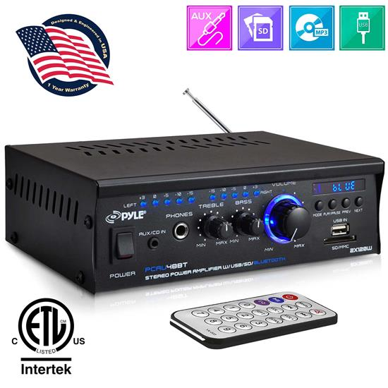 Pyle - PCAU48BT , Sound and Recording , Amplifiers - Receivers , Bluetooth Mini Blue Series Stereo Power Amplifier, 2 x 120 Watt, USB Charge Port, USB/SD Memory Card Readers, RCA and AUX (3.5mm) Input Connector Jacks, Remote Control