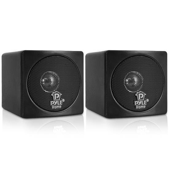 Pyle - PCB3BK , Sound and Recording , SoundBars - Home Theater , 3'' 100 Watt Black Mini Cube Bookshelf Speaker In Black (Pair)