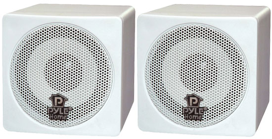 Pyle - PCB3WT , Home Audio / Video , Speakers , 3'' 100 Watt White Mini Cube Bookshelf Speaker In White (Pair)