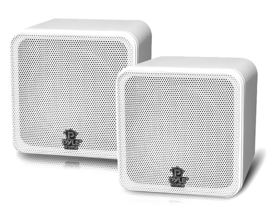 Pyle - PCB4WT , Sound and Recording , SoundBars - Home Theater , 4'' 200 Watt White Mini Cube Bookshelf Speaker In White(Pair)
