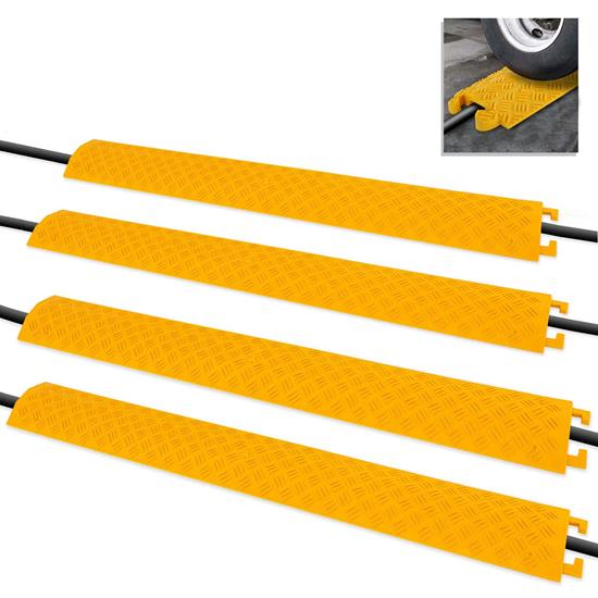Pyle - PCBLCO101X4YL , Home and Office , Cable Ramps - Cord/Wire Protectors , Cable Protector Cover Ramps - Cord/Wire Safety Concealment Floor Tracks, Rugged & Waterproof, Indoor/Outdoor Use (1 Channel Groove)