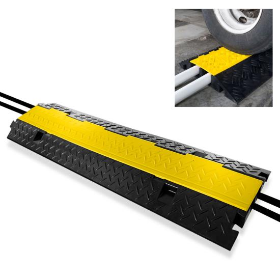Pyle - PCBLCO103 , Home and Office , Cable Ramps - Cord/Wire Protectors , Cable Protector Cover Ramp - Cord/Wire Safety Concealment Track with Flip-Open Access Lid (Dual Channel Style)