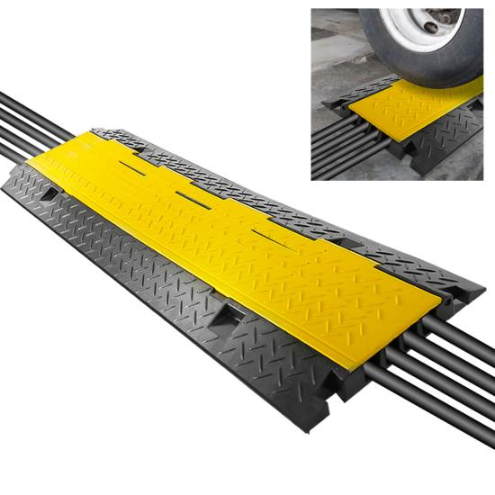 Pyle - PCBLCO106 , Home and Office , Cable Ramps - Cord/Wire Protectors , Cable Protector Cover Ramp - Cord/Wire Safety Concealment Track with Flip-Open Access Lid (Four Channel Style)