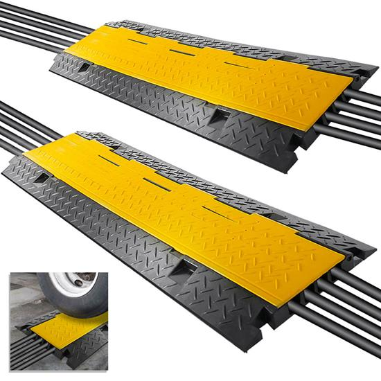 Pyle - PCBLCO106X2 , Home and Office , Cable Ramps - Cord/Wire Protectors , Cable Protector Cover Ramp - Cord/Wire Safety Concealment Track with Flip-Open Access Lid, Four Channel Style, 2 Pack