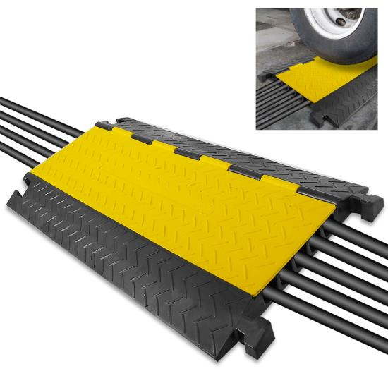 Pyle - PCBLCO109 , Home and Office , Cable Ramps - Cord/Wire Protectors , Cable Protector Cover Ramp - Cord/Wire Safety Concealment Track with Flip-Open Access Lid (Five Channel Extra Wide Style)