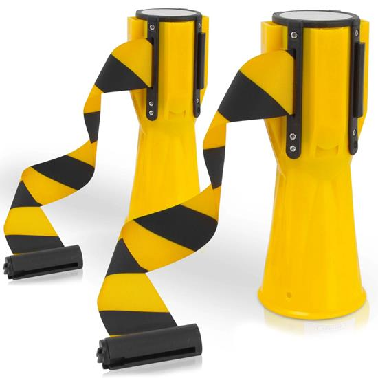 Pyle - PCNTP16X2 , Misc , Traffic Cone Emergency Belt - Retractable Traffic Cone Hazard Warning Tape Barrier Belt (Pair)